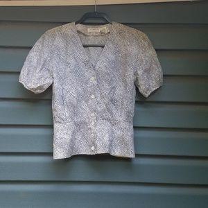 Liz Claiborne  white and black peplum blouse